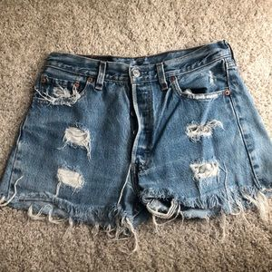 Levi's high waisted denim ripped shorts